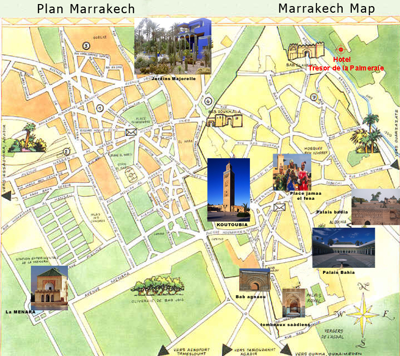 Carte de marrakech plan touristique marrakech for Les sites des hotels
